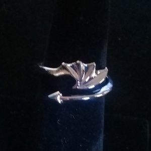 Platinum dragons wing adjustable ring